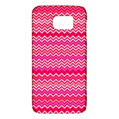Valentine Pink And Red Wavy Chevron Zigzag Pattern Galaxy S6 by PaperandFrill