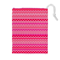 Valentine Pink And Red Wavy Chevron Zigzag Pattern Drawstring Pouches (extra Large) by PaperandFrill