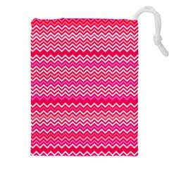 Valentine Pink And Red Wavy Chevron Zigzag Pattern Drawstring Pouches (xxl) by PaperandFrill