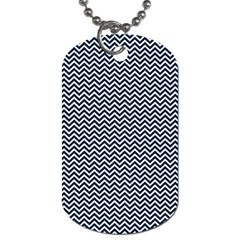 Blue And White Chevron Wavy Zigzag Stripes Dog Tag (two Sides) by PaperandFrill
