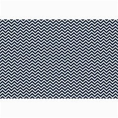 Blue And White Chevron Wavy Zigzag Stripes Canvas 12  X 18   by PaperandFrill