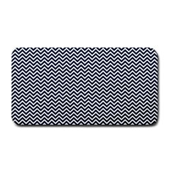 Blue And White Chevron Wavy Zigzag Stripes Medium Bar Mats by PaperandFrill