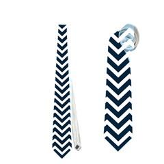 Blue And White Chevron Wavy Zigzag Stripes Neckties (one Side)