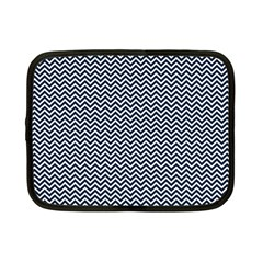 Blue And White Chevron Wavy Zigzag Stripes Netbook Case (small)  by PaperandFrill