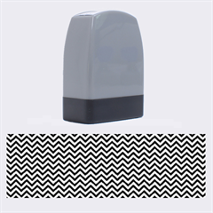 Blue And White Chevron Wavy Zigzag Stripes Name Stamps by PaperandFrill