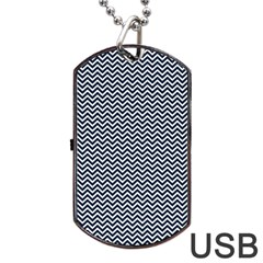 Blue And White Chevron Wavy Zigzag Stripes Dog Tag Usb Flash (two Sides)  by PaperandFrill