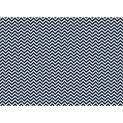 Blue And White Chevron Wavy Zigzag Stripes Birthday Cake 3d Greeting Card (7x5)