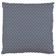 Blue And White Chevron Wavy Zigzag Stripes Large Cushion Cases (two Sides)  by PaperandFrill