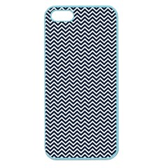 Blue And White Chevron Wavy Zigzag Stripes Apple Seamless Iphone 5 Case (color) by PaperandFrill