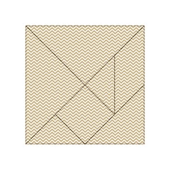 Gold and White Chevron Wavy ZigZag Stripes Acrylic Tangram Puzzle (4  x 4 ) by PaperandFrill