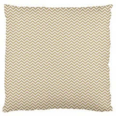 Gold And White Chevron Wavy Zigzag Stripes Large Flano Cushion Cases (two Sides)  by PaperandFrill