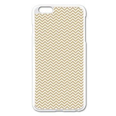 Gold and White Chevron Wavy ZigZag Stripes Apple iPhone 6 Plus/6S Plus Enamel White Case by PaperandFrill