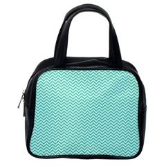 Tiffany Aqua And White Chevron Wavy Zigzag Stripes Classic Handbags (one Side) by PaperandFrill