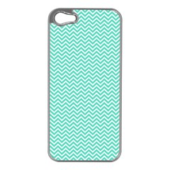 Tiffany Aqua And White Chevron Wavy Zigzag Stripes Apple Iphone 5 Case (silver) by PaperandFrill