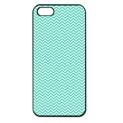 Tiffany Aqua And White Chevron Wavy Zigzag Stripes Apple Iphone 5 Seamless Case (black) by PaperandFrill