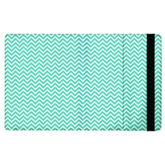 Tiffany Aqua And White Chevron Wavy Zigzag Stripes Apple Ipad 2 Flip Case by PaperandFrill