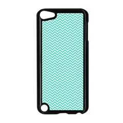 Tiffany Aqua And White Chevron Wavy Zigzag Stripes Apple Ipod Touch 5 Case (black) by PaperandFrill