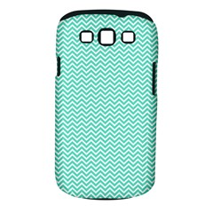 Tiffany Aqua And White Chevron Wavy Zigzag Stripes Samsung Galaxy S Iii Classic Hardshell Case (pc+silicone) by PaperandFrill