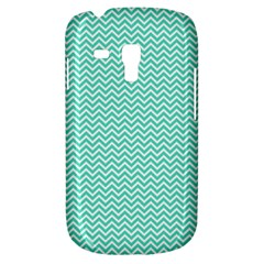 Tiffany Aqua And White Chevron Wavy Zigzag Stripes Samsung Galaxy S3 Mini I8190 Hardshell Case by PaperandFrill
