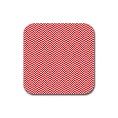Red And White Chevron Wavy Zigzag Stripes Rubber Square Coaster (4 Pack)  by PaperandFrill