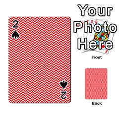 Red And White Chevron Wavy Zigzag Stripes Playing Cards 54 Designs