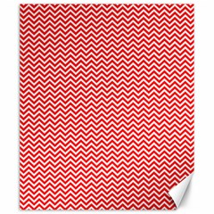 Red And White Chevron Wavy Zigzag Stripes Canvas 20  X 24   by PaperandFrill