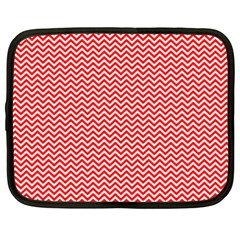 Red And White Chevron Wavy Zigzag Stripes Netbook Case (xxl)  by PaperandFrill