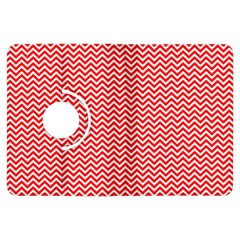 Red And White Chevron Wavy ZigZag Stripes Kindle Fire HDX Flip 360 Case by PaperandFrill