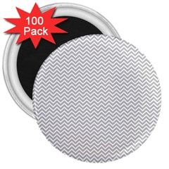 Silver And White Chevrons Wavy Zigzag Stripes 3  Magnets (100 Pack) by PaperandFrill