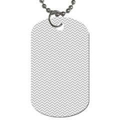 Silver And White Chevrons Wavy Zigzag Stripes Dog Tag (two Sides) by PaperandFrill