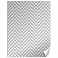 Silver And White Chevrons Wavy Zigzag Stripes Canvas 18  X 24   by PaperandFrill