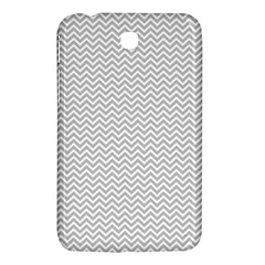 Silver and White Chevrons Wavy ZigZag Stripes Samsung Galaxy Tab 3 (7 ) P3200 Hardshell Case  by PaperandFrill