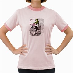Flamingo Croquet Women s Fitted Ringer T Shirts by waywardmuse