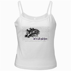 Cheshire Cat White Spaghetti Tanks