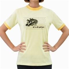 Cheshire Cat Women s Fitted Ringer T Shirts by waywardmuse