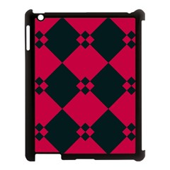 Black Pink Shapes Pattern			apple Ipad 3/4 Case (black) by LalyLauraFLM