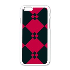 Black Pink Shapes Patternapple Iphone 6/6s White Enamel Case by LalyLauraFLM