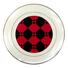 Black pink shapes pattern			Porcelain Plate by LalyLauraFLM