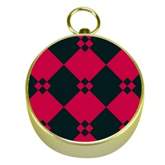 Black Pink Shapes Patterngold Compass by LalyLauraFLM