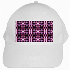 Purple White Flower Abstract Pattern White Cap by Costasonlineshop