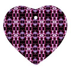 Purple White Flower Abstract Pattern Ornament (heart)  by Costasonlineshop