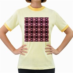 Purple White Flower Abstract Pattern Women s Fitted Ringer T Shirts
