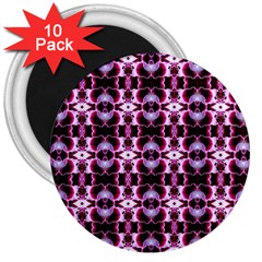 Purple White Flower Abstract Pattern 3  Magnets (10 Pack)