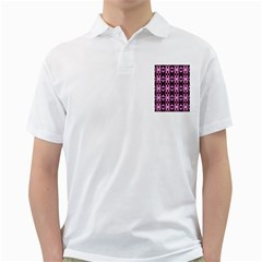 Purple White Flower Abstract Pattern Golf Shirts