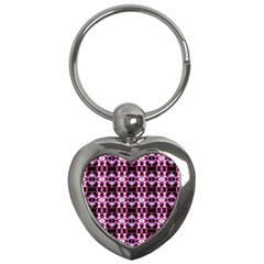 Purple White Flower Abstract Pattern Key Chains (heart)