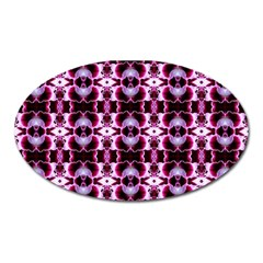 Purple White Flower Abstract Pattern Oval Magnet
