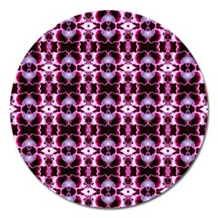 Purple White Flower Abstract Pattern Magnet 5  (round) by Costasonlineshop