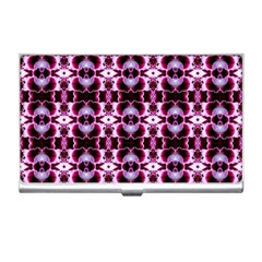 Purple White Flower Abstract Pattern Business Card Holders by Costasonlineshop