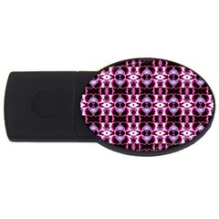 Purple White Flower Abstract Pattern Usb Flash Drive Oval (2 Gb)