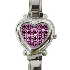 Purple White Flower Abstract Pattern Heart Italian Charm Watch